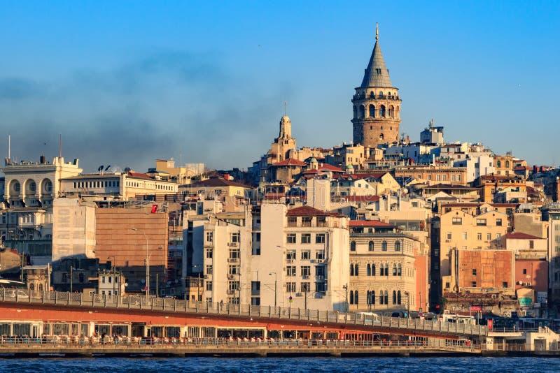 Galata tower with galata bridge. stock image