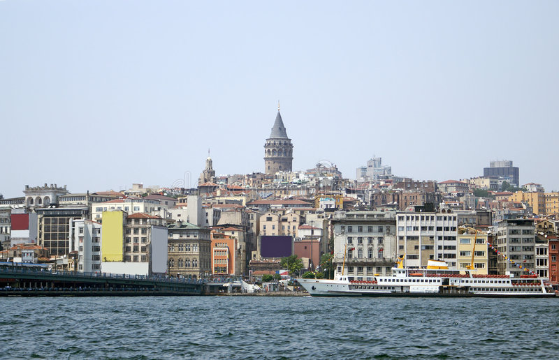 Galata tower and Galata brige of Golden horn bay. Istanbul, Turkey royalty free stock images