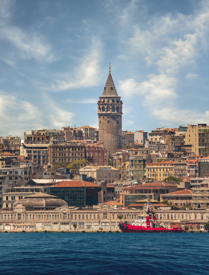 Galata Tower. And Bosphorus in Istanbul Turkey royalty free stock photos