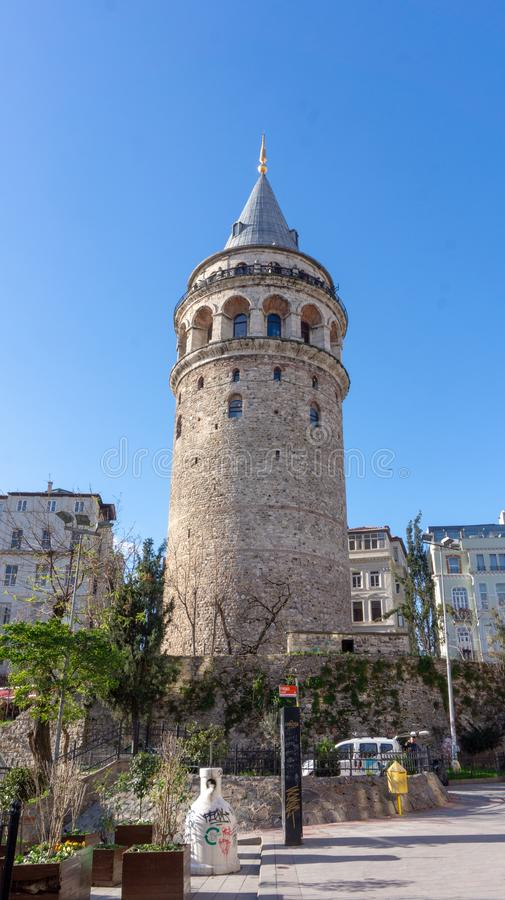 Galata tower. The Galata Tower, Galata Kulesi in Turkish, is one of the highest and oldest towers of Istanbul. 63 meter (206 feet) high tower provides stock photo
