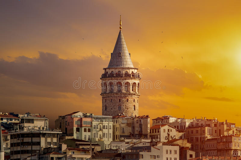 Galata Tower. In Istanbul Turkey royalty free stock images