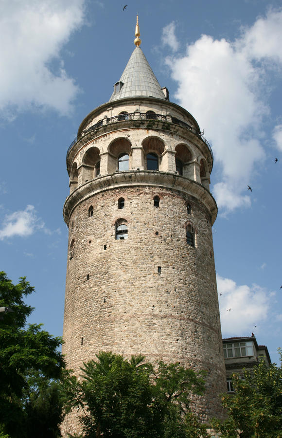 Galata Tower in Istanbul. Galata Tower major touristic attraction in Istanbul, Turkey stock image