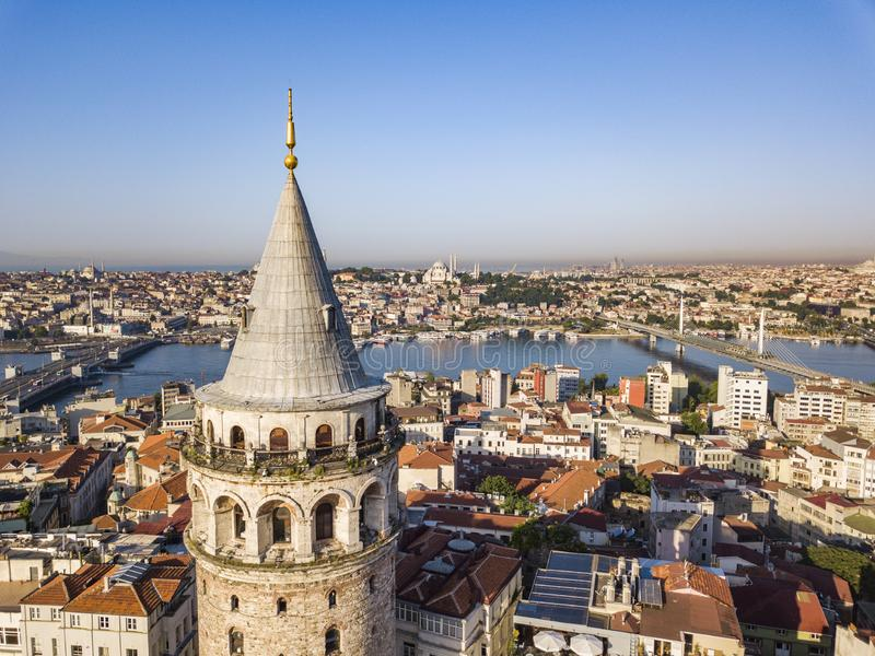 Galata tower. Istanbul city aerial view. Galata tower. Istanbul city landscape aerial view royalty free stock photos