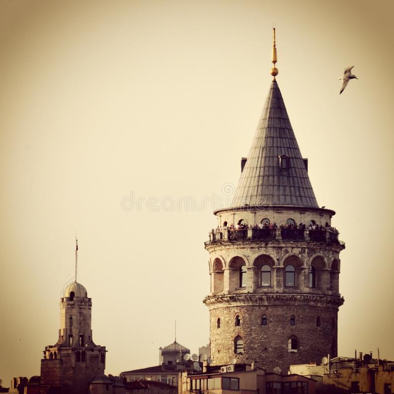 Galata Tower. Gift of the Genoese Galata Tower royalty free stock photo