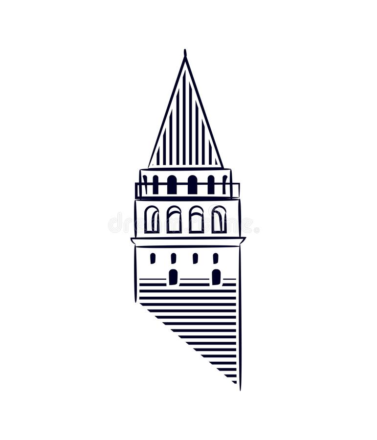 Galata Tower Istanbul isolated icon illustration made line art style. Galata Tower as a symbol of Karakoy, istanbul. stock illustration