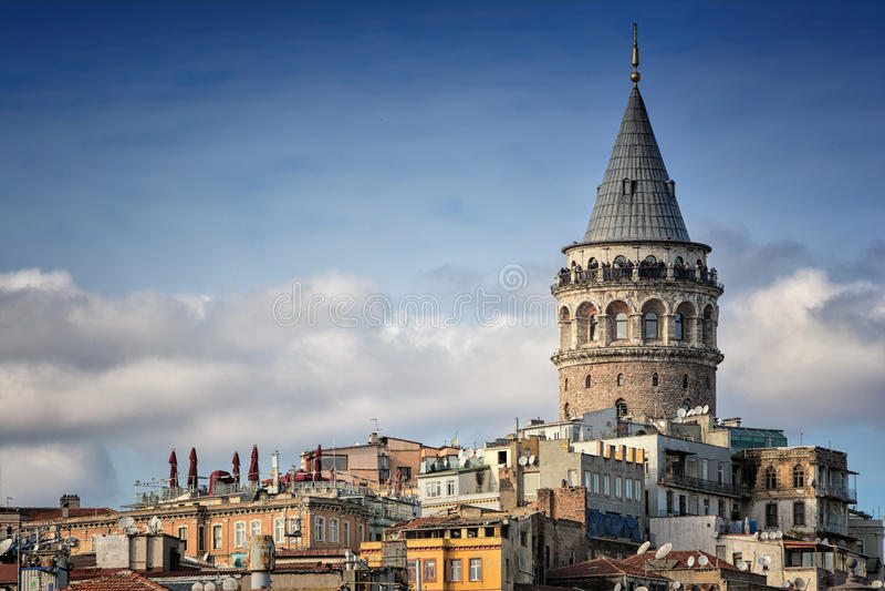 Galata Tower, Istanbul, Turkey. Galata Tower And Old Apartments, Istanbul, Turkey stock photo