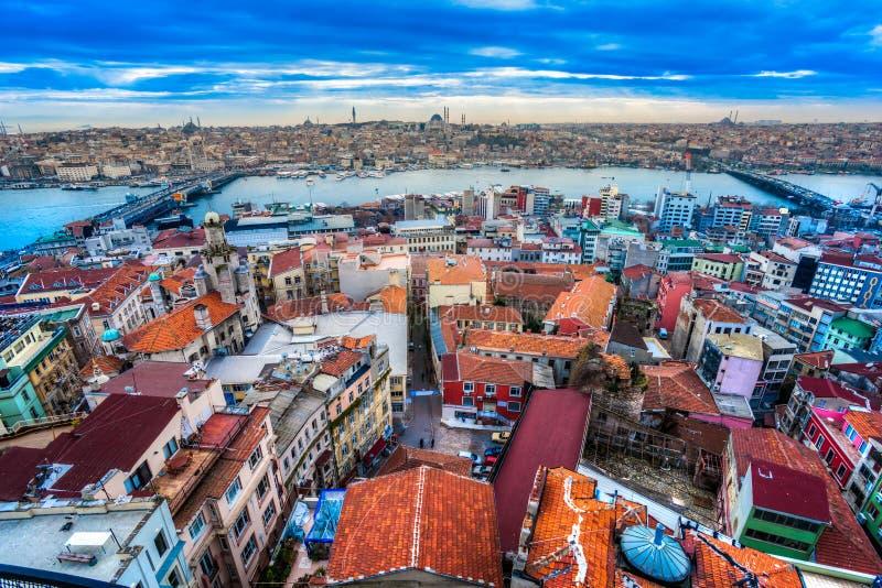 Galata tower, Istanbul, Turkey. View from Galata tower in beyoglu, Istanbul, Turkey stock photos