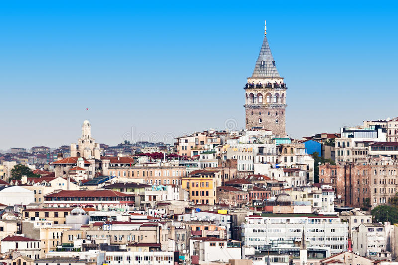 The Galata Tower. Is a medieval stone tower in Istanbul, Turkey royalty free stock photography
