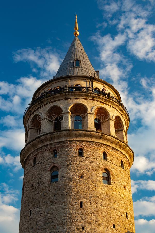 The Galata Tower medieval stone tower in Istanbul, Turkey. The Galata Tower — called Christea Turris by the Genoese — is a medieval stone tower in royalty free stock image