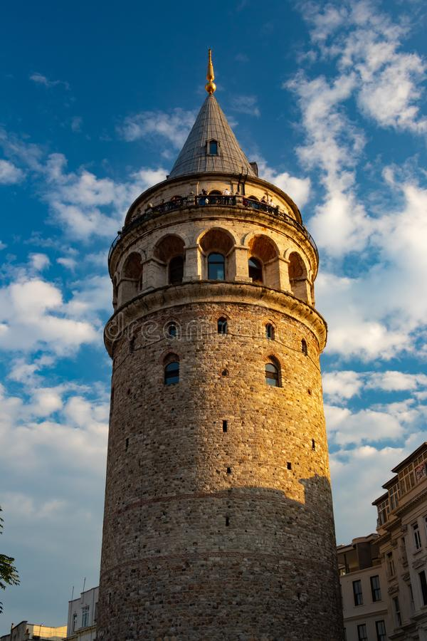 The Galata Tower medieval stone tower in Istanbul, Turkey. The Galata Tower — called Christea Turris by the Genoese — is a medieval stone tower in royalty free stock photos
