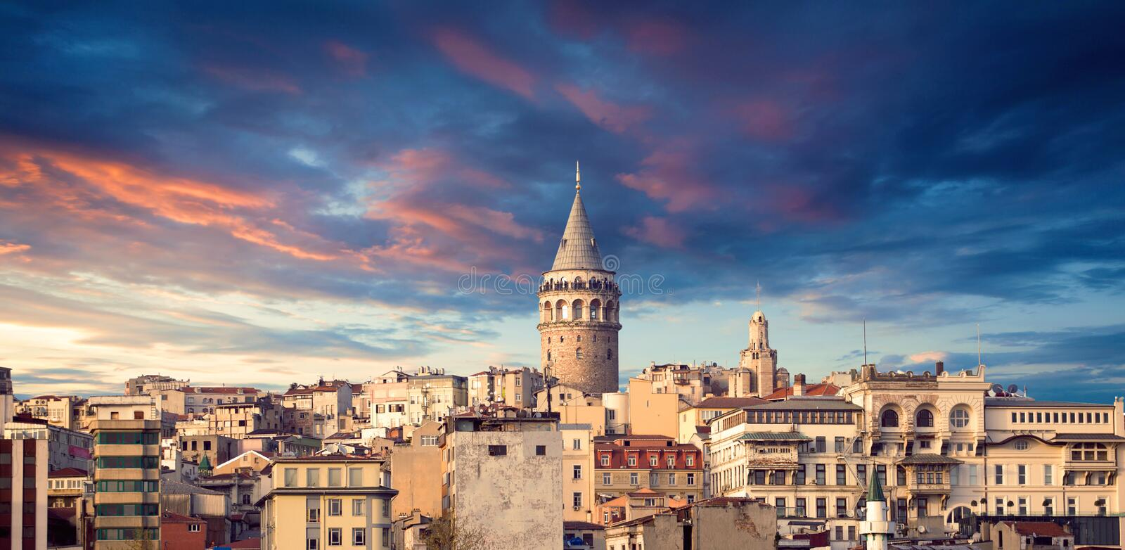 The Galata tower. Galata Tower, the panorama of Istanbul. Sights of Istanbul. Galata Tower is located in the European part of Istanbul, on a high hill area of royalty free stock images