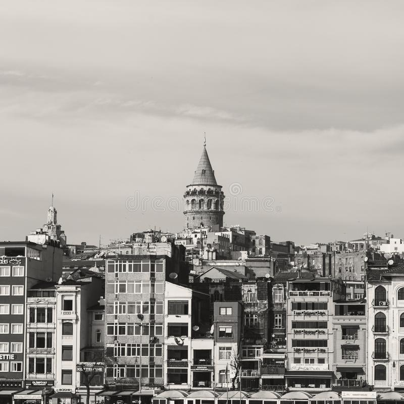 Galata tower view from Bosphorus stock images