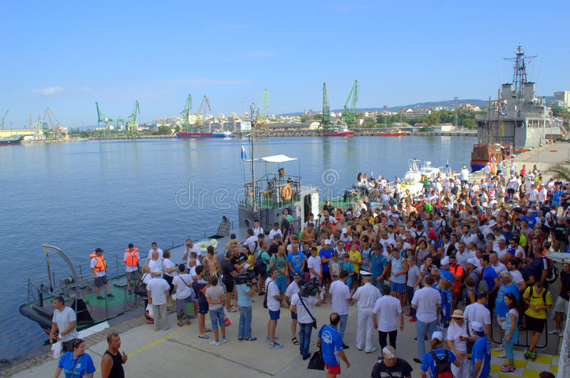 Galata-Varna marathon contestants at the Port Varna. On August 2, 2015 was held 75th anniversary swimming marathon Galata - Varna. It involved 263 participants stock images