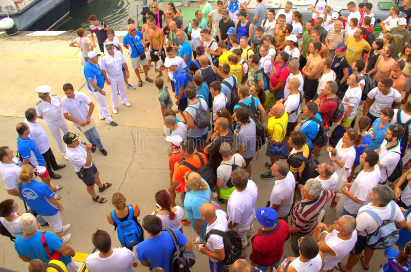 Galata-Varna marathon participants briefing. On August 2, 2015 was held 75th anniversary swimming marathon Galata - Varna. It involved 263 participants.On the royalty free stock images