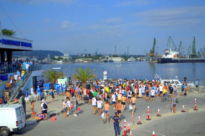 Galata-Varna marathon swimmers at the Port Varna. On August 2, 2015 was held 75th anniversary swimming marathon Galata - Varna. It involved 263 participants.On stock photos