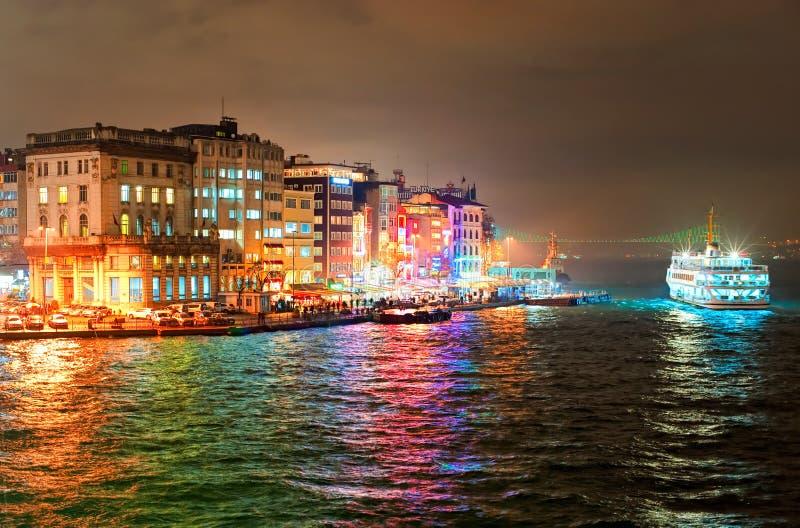 Galata-Viertel auf Bosporus in Istanbul, die Türkei lizenzfreies stockfoto