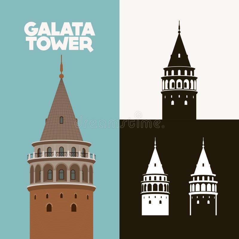 Galata wierza Galata Kulesi royalty ilustracja