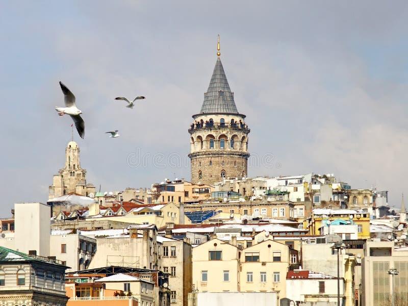 Galata in winter. Galata tower in Istanbul in winter stock image