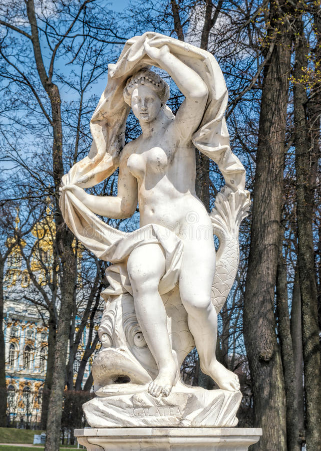 Galatea雕象在凯瑟琳公园在Tsarskoye Selo 免版税库存图片