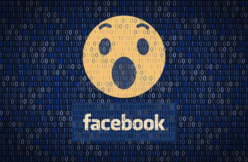 GALATI, ROMÊNIA - 10 DE ABRIL DE 2018: Edições da segurança de dados e da privacidade de Facebook Conceito do encription dos dado ilustração royalty free