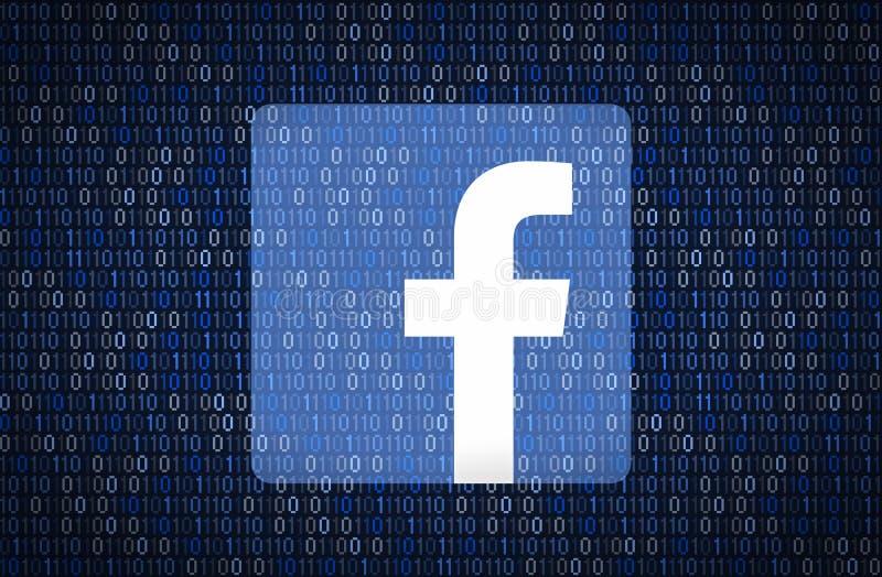 GALATI, ROMÊNIA - 10 DE ABRIL DE 2018: Edições da segurança e da privacidade de Facebook Conceito do encription dos dados ilustração stock