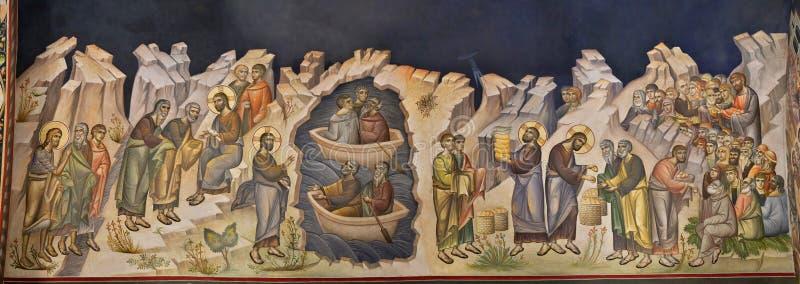 Galati, Romênia - 20 de junho de 2018: Fragmento de uma pintura mural velha de Christian Orthodox fotografia de stock