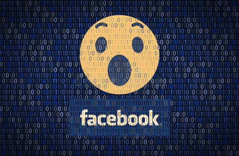 GALATI, ROMANIA - 10 APRIL 2018: Facebook data security and privacy issues. Data encription concept royalty free illustration