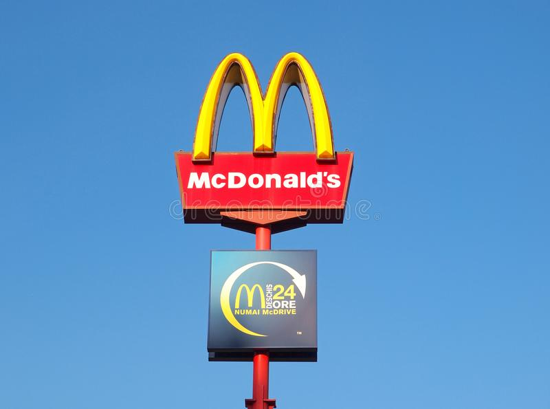 McDonalds restaurant sign with McDrive stock images