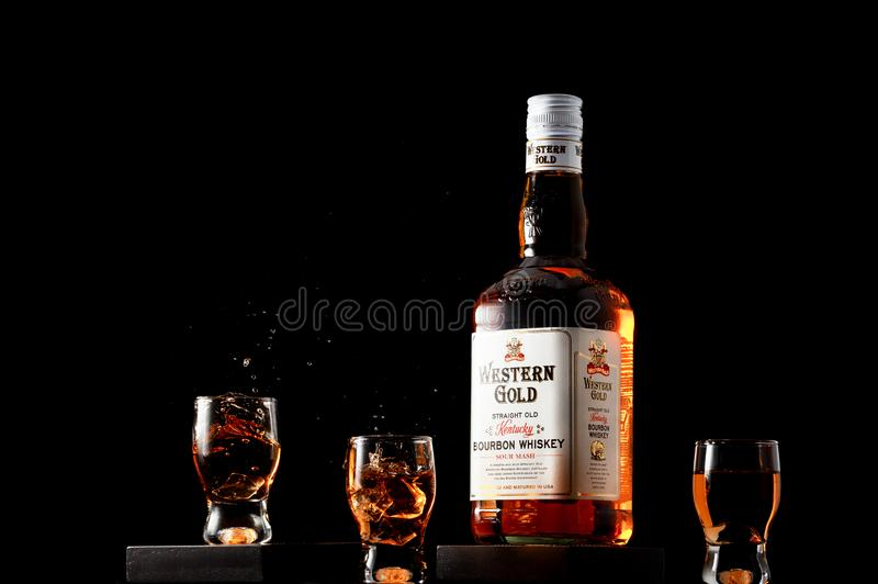 GALATI, ROMANIA -OCTOBRE 23,2018 Western Gold bourbon whiskey on stock image