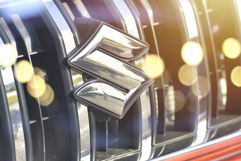 Galati, Romania - September 2, 2017: Suzuki car front logo displayed in an automobile show. Suzuki is an automobiles manufacturer stock images