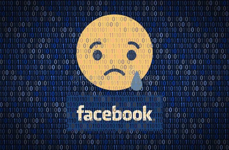 GALATI, RUMÄNIEN - 10. APRIL 2018: Facebook-Datensicherheits- und Privatsphärenfragen Daten encription Konzept lizenzfreie abbildung