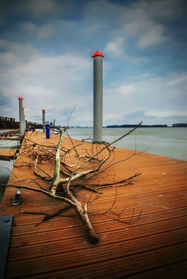 Galati Rumänien - mars 23, 2017: Hamn på Danubet River royaltyfri foto