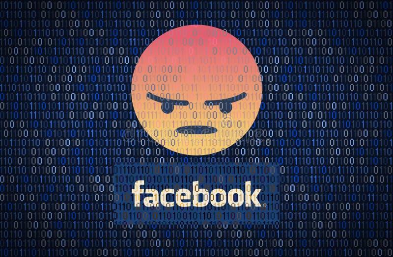 GALATI, RUMANIA - 10 DE ABRIL DE 2018: Problemas de la seguridad y de la privacidad de datos de Facebook Concepto del encription  stock de ilustración