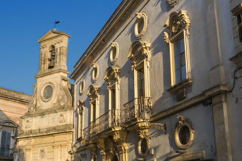 Galatina historisk stadmitt - Salento - Italien royaltyfri fotografi