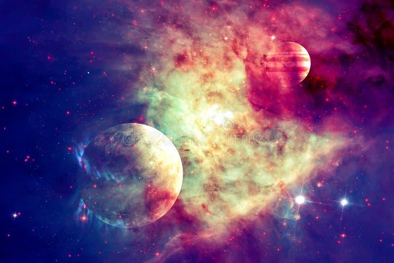 Galax och planet i yttre rymd Beståndsdelar av denna avbildar möblerat av NASA royaltyfria bilder