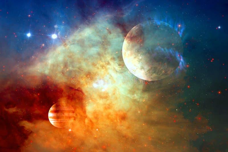 Galax och planet i yttre rymd Beståndsdelar av denna avbildar möblerat av NASA royaltyfri foto