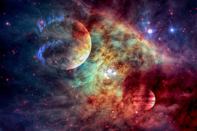 Galax och planet i yttre rymd Beståndsdelar av denna avbildar möblerat av NASA royaltyfri illustrationer
