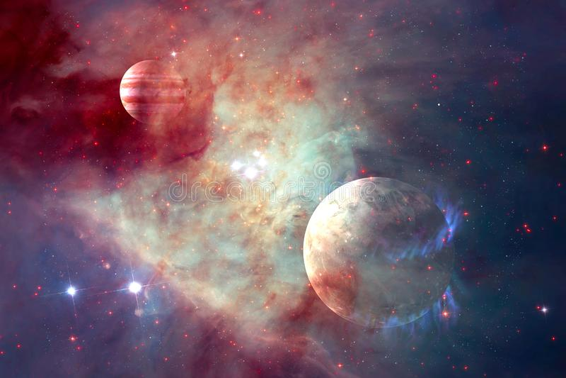 Galax och planet i yttre rymd Beståndsdelar av denna avbildar möblerat av NASA vektor illustrationer
