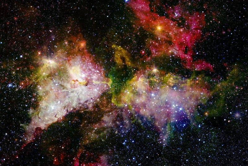Galax starfield, nebulosor, klunga av stj?rnor i djupt utrymme Sciencekonst arkivfoto
