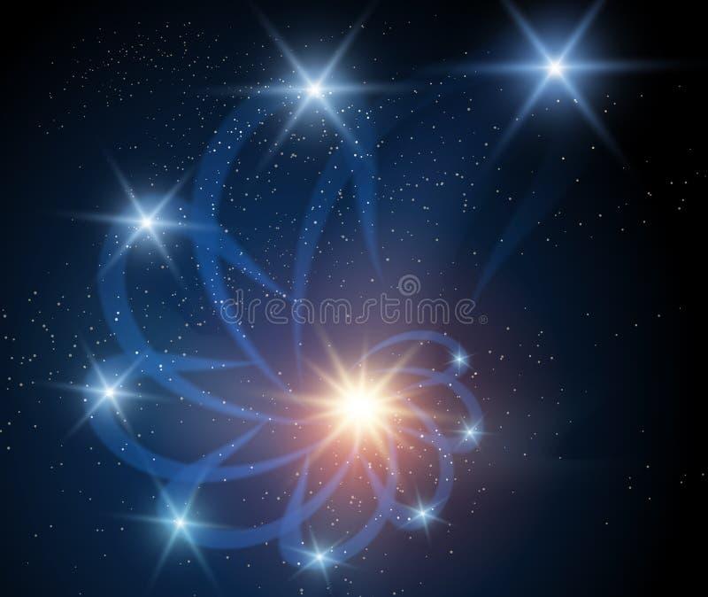 Galaxbakgrund med nebulosan stock illustrationer