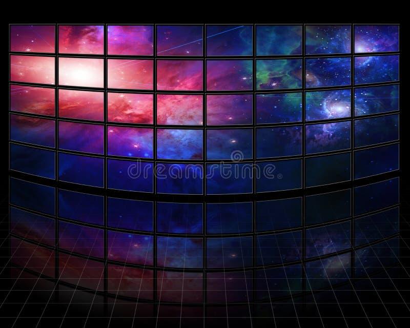 Galaxer och stjärnor på skärmar stock illustrationer