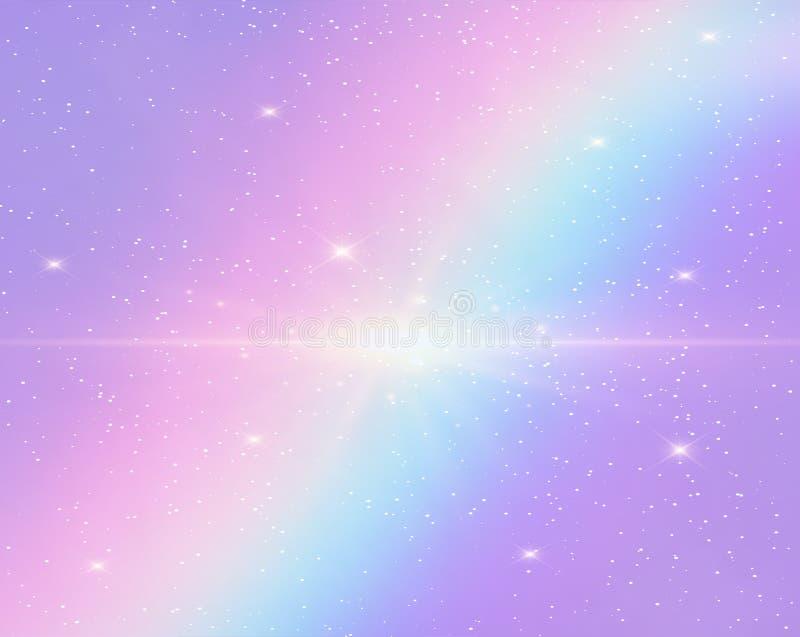 Galaxfantasibakgrund och pastellfärgad färg stock illustrationer