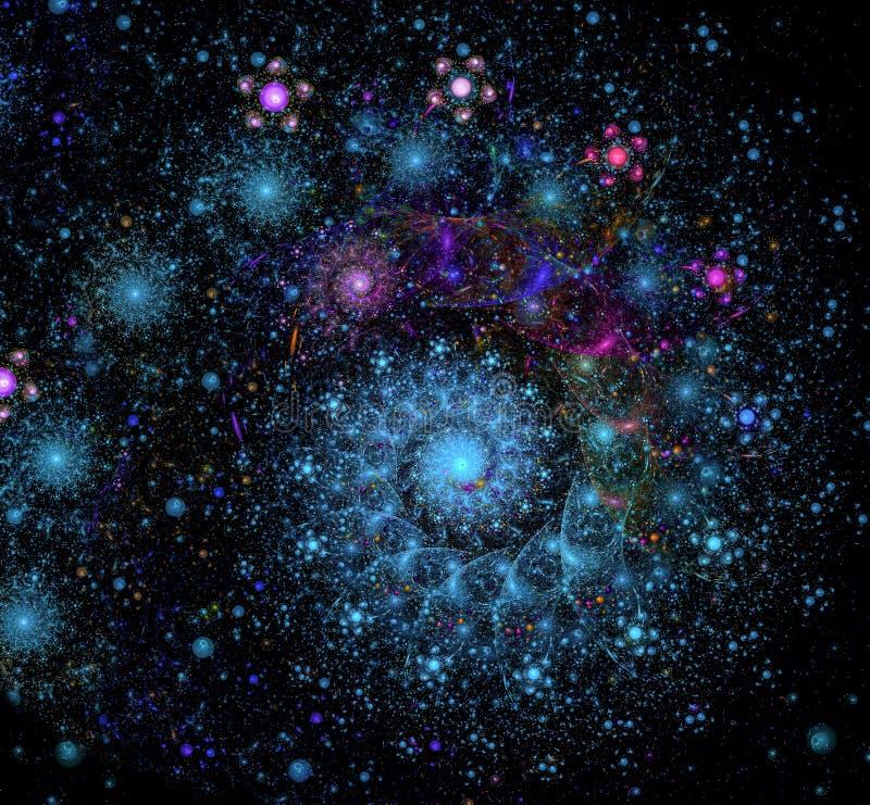 Galaxia colorida del fractal del extracto en un fondo negro libre illustration