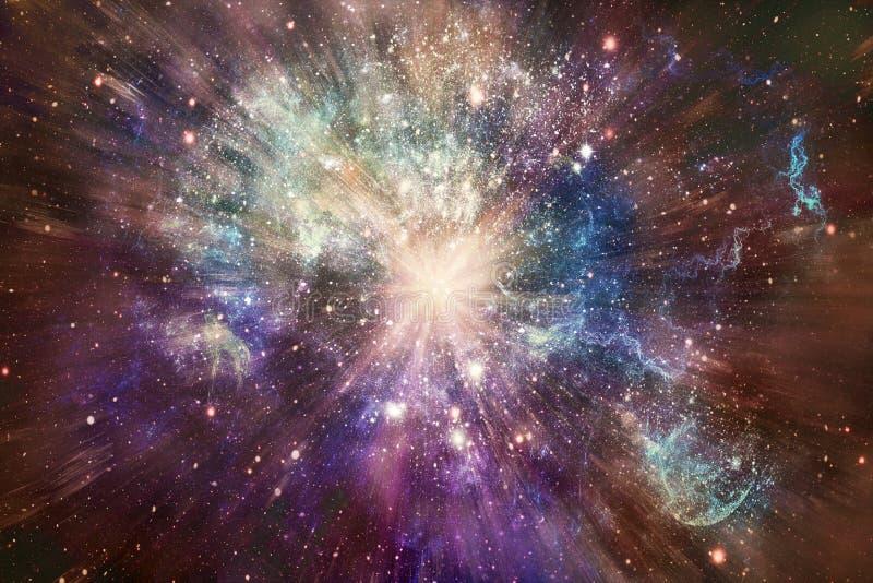 Galaxia de niebla que brilla intensamente multicolora del extracto con ilustraciones de estallido de la estrella en el centro imagen de archivo