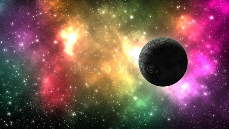 Galaxia del universo con muchas estrellas y planetas ilustración del vector