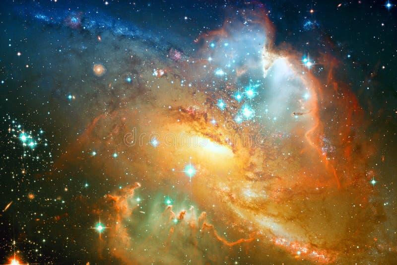 Galaxia espiral y estrellas en espacio profundo Elementos de esta imagen equipados por la NASA stock de ilustración