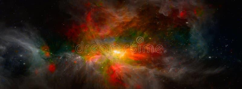 Galaxia extranjera de la fantasía con las nubes y las estrellas que brillan intensamente stock de ilustración