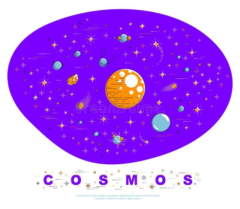 Galaxia fantástica con los planetas sin descubrir extraños desconocidos con las estrellas y otros elementos Explore el universo,  libre illustration