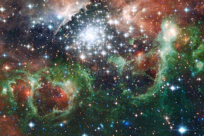 Galaxia, starfield, nebulosas, racimo de estrellas en espacio profundo Arte de la ciencia ficción ilustración del vector
