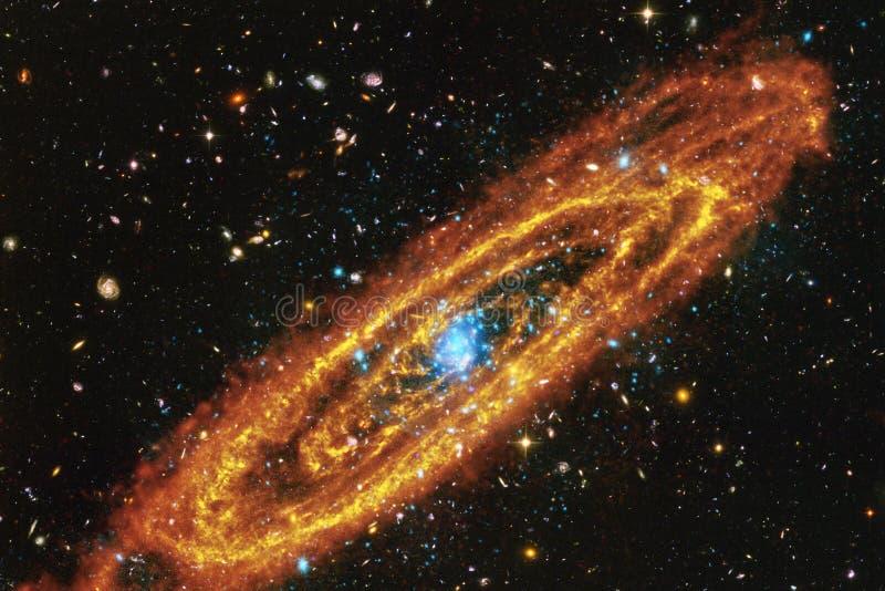 Galaxia, starfield, nebulosas, racimo de estrellas en espacio profundo Arte de la ciencia ficción stock de ilustración